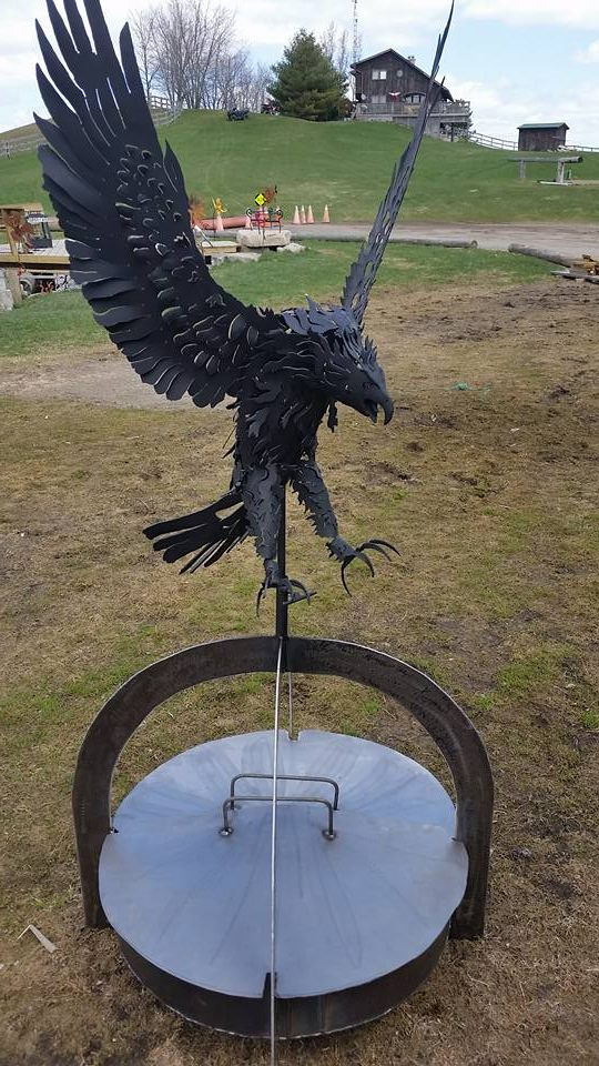 custom steel eagle firepit by ImagineMetalArt