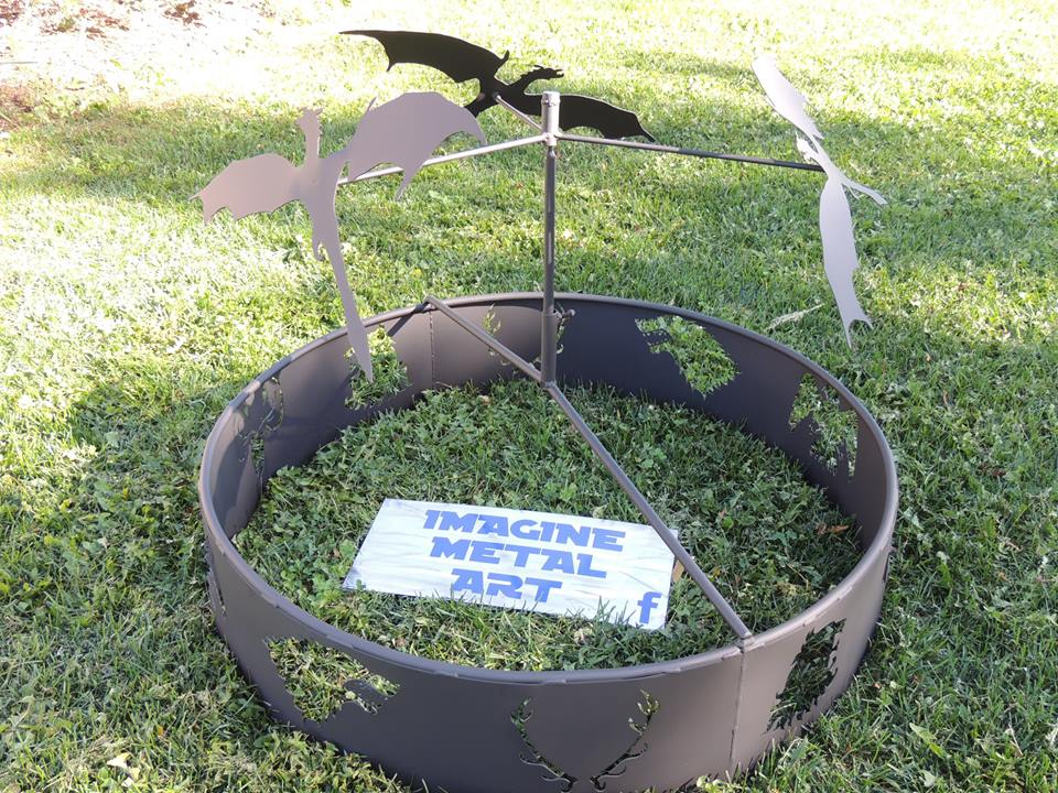 custom metal flying dragons firepit by ImagineMetalArt