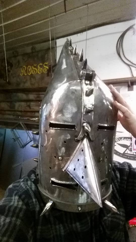 custom steel metal helmet medieval iron maiden by ImagineMetalArt