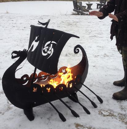 custom steel viking pirateship firepit by ImagineMetalArt