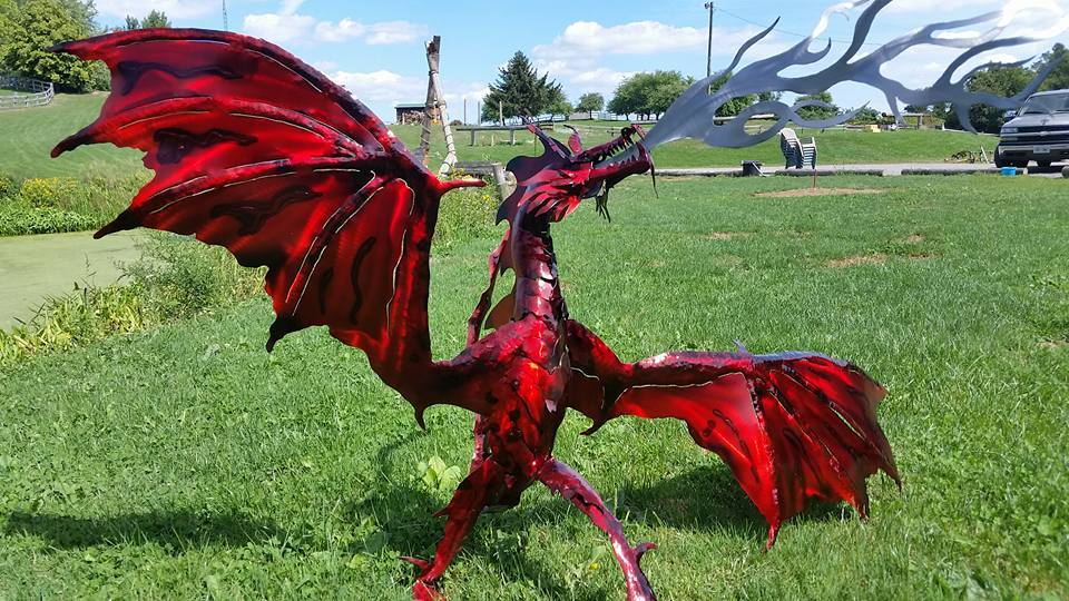 custom red dragon metal steel by ImagineMetalArt
